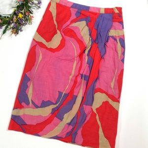 💖💜VINTAGE 80s Faux Wrap Watercolor Pencil Skirt